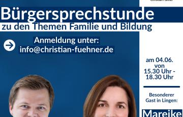 Familien stehen im Fokus der nächsten Bürgersprechstunde von Christian Fühner MdL