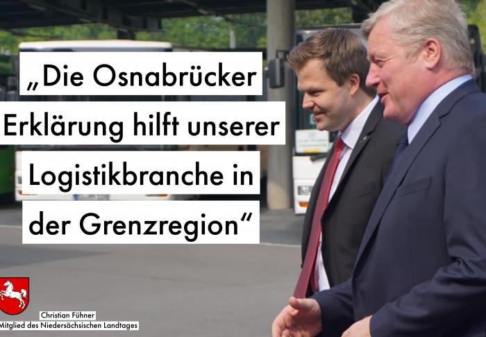 """Fühner: """"Wir wollen die Mobilität länderübergreifend verbessern. Die """"Osnabrücker Erklärung"""" zeigt, dass wir vorankommen."""""""